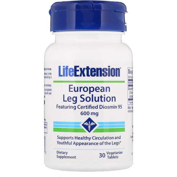Life Extension, Европейское решение для ног, С сертифицированным диосмином 95, 600 мг, 30 вегетарианских таблеток (Discontinued Item)