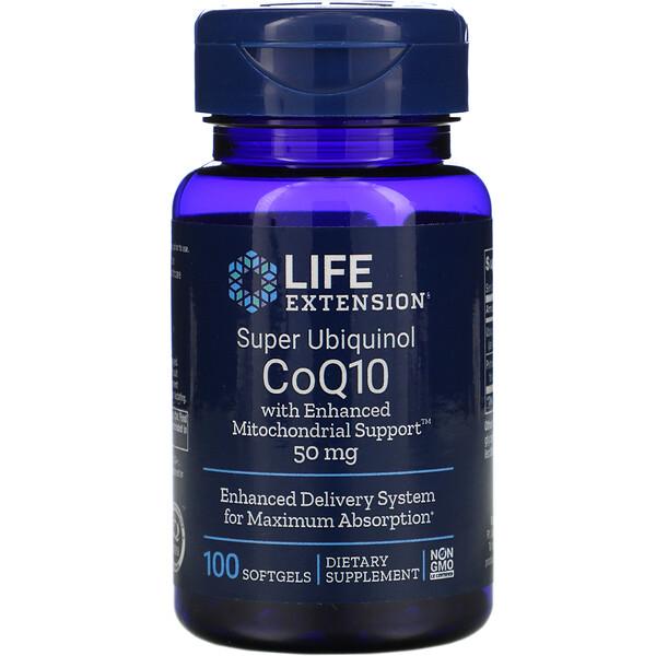 Life Extension, Super Ubiquinol CoQ10 с улучшенной поддержкой митохондрий, 50 мг, 100 гелевых капсул