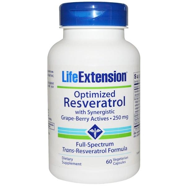 Life Extension, Улучшенный резвератрол, с активными синергетическими веществами из ягод винограда, 250 мг, 60 капсул на растительной основе (Discontinued Item)