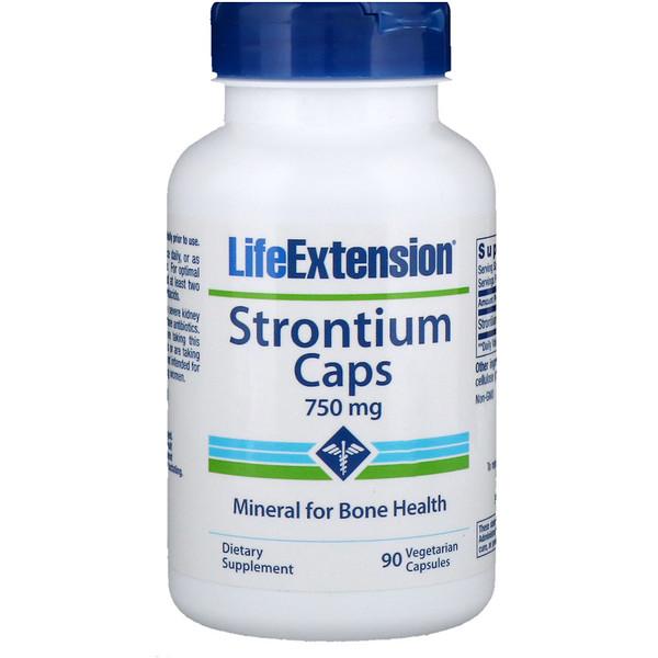 Strontium Caps (Стронций в капсулах), минерал для здоровья костей, 750 мг, 90 вегетарианских капсул