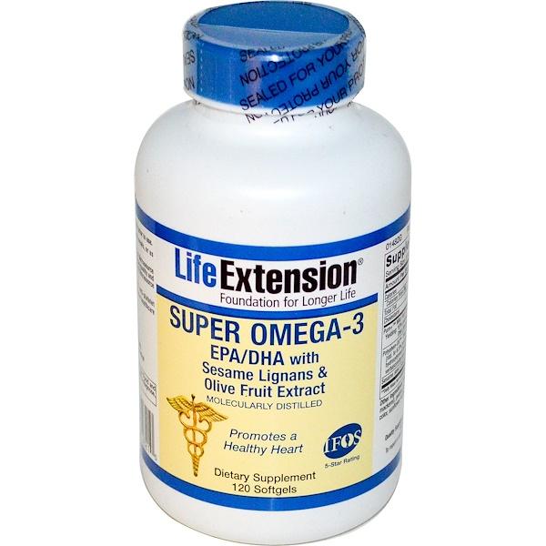 Life Extension, Супер Омега-3, ЭПК / ДГК с кунжутом, лигнаном и экстрактом оливковых плодов, 120 капсул (Discontinued Item)