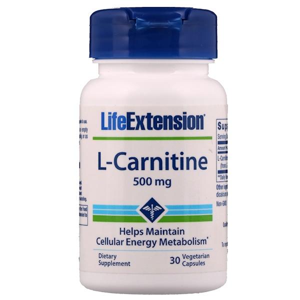 L-карнитин, 500 мг, 30 вегетарианских капсул