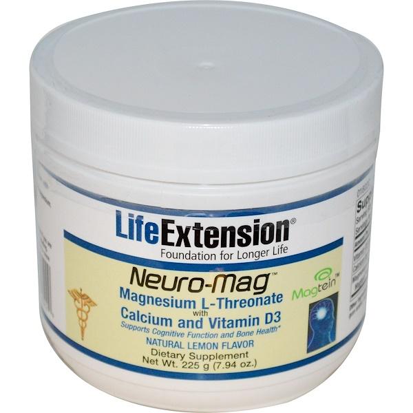 Life Extension, Neuro-Mag, с натуральным лимонным вкусом, 7.94 унций (225 г) (Discontinued Item)