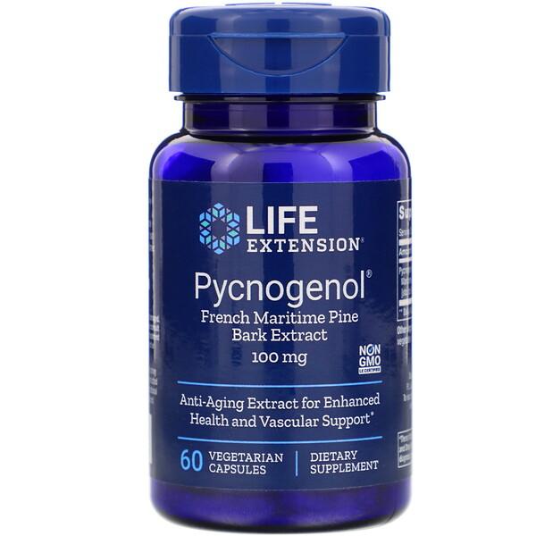 Пикногенол, экстракт коры французской приморской сосны, 100 мг, 60 вегетарианских капсул