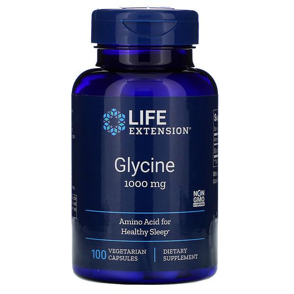 Life Extension, Глицин, 1000 мг, 100 вегетарианских капсул