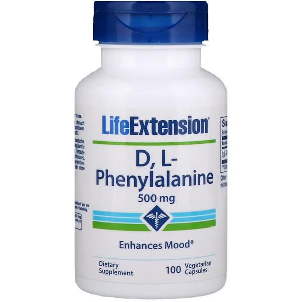 Life Extension, D, L-фенилаланин, 500мг, 100вегетарианских капсул