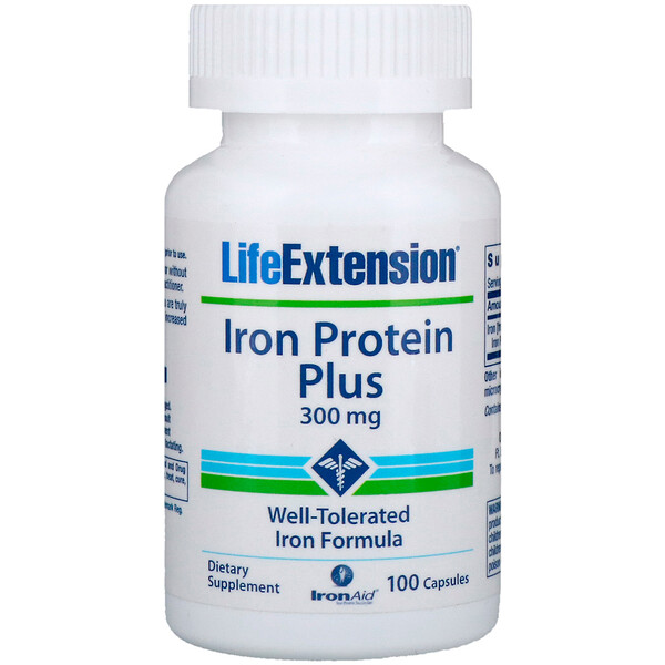 Iron Protein Plus, железосодержащий белок, 300 мг, 100 капсул