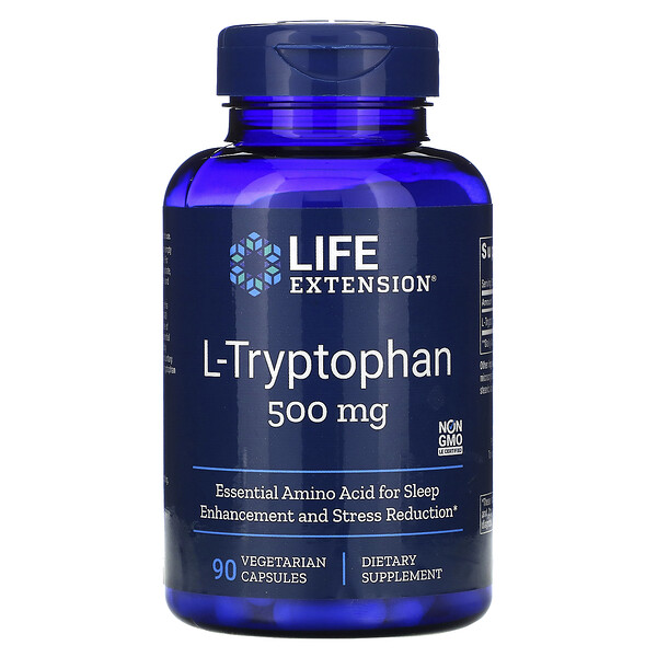 Life Extension, L-триптофан, 500 мг, 90 вегетарианских капсул