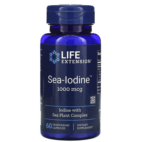 Life Extension, Sea-Iodine, Йод, 1000 мкг, 60 вегетарианских капсул