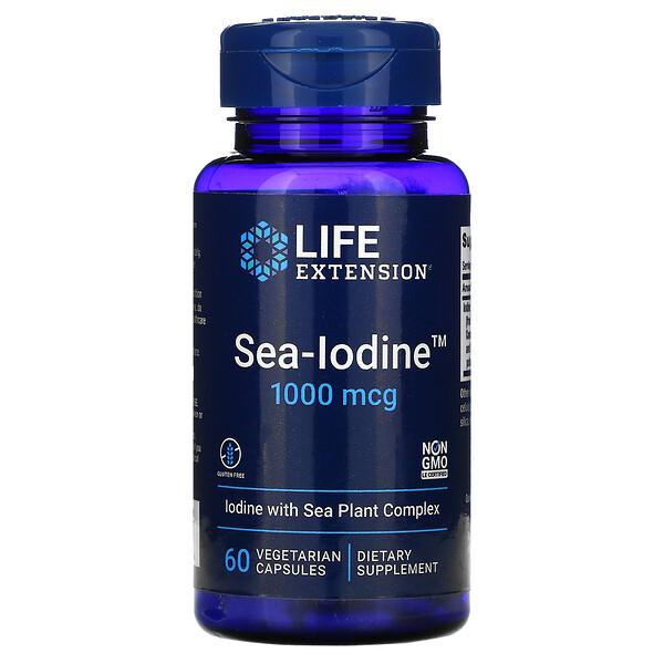 Life Extension, Sea-Iodine, 1000мкг, 60вегетарианских капсул