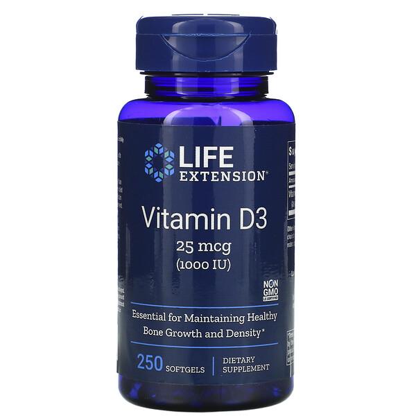 Витамин D3, 25мкг (1000МЕ), 250мягких желатиновых капсул