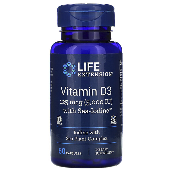 витамин D3 с формулой Sea-Iodine, 125 мкг (5000 МЕ), 60 капсул