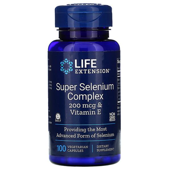 Life Extension, Суперкомплекс селена с витаминомE, 200 мкг, 100вегетарианских капсул