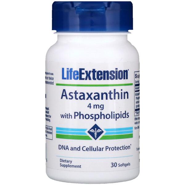 Life Extension, Астаксантин с фосфолипидами, 4мг, 30капсул