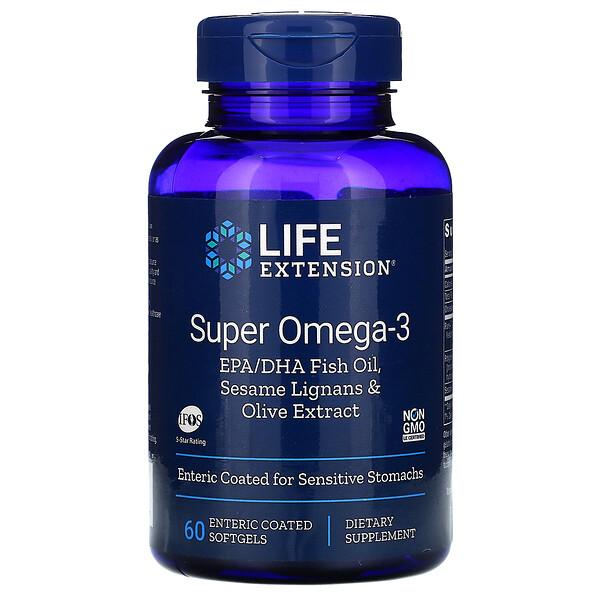 Super Omega-3 EPA/DHA Fish Oil, Sesame Lignans & Olive Extract, 60 Enteric Coated Softgels