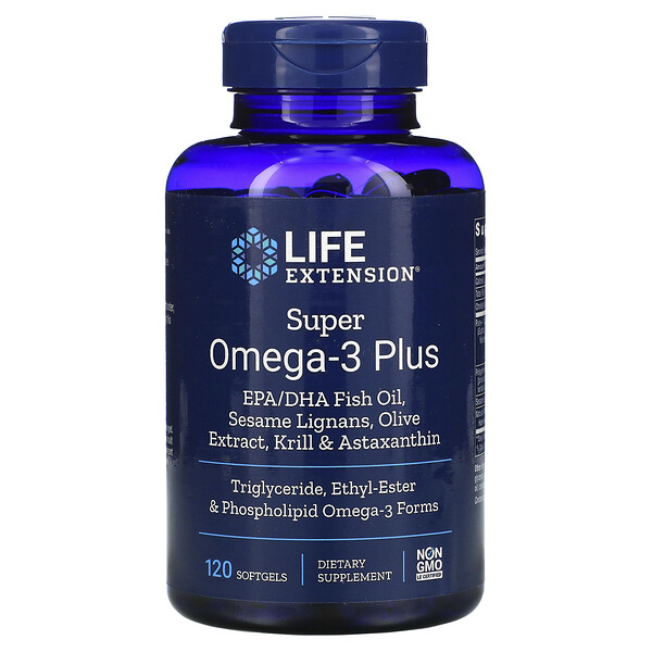 Life Extension, Super Omega-3 Plus, 120мягких таблеток