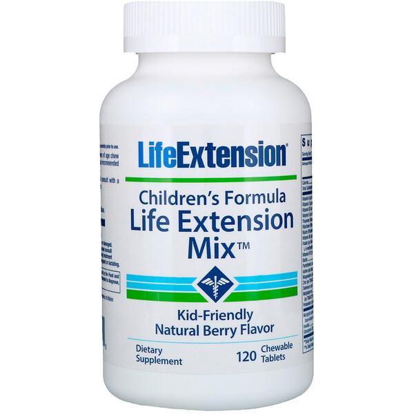 Life Extension, Формула для детей, Life Extension Mix, с натуральным ягодным вкусом, 120 жевательных таблеток