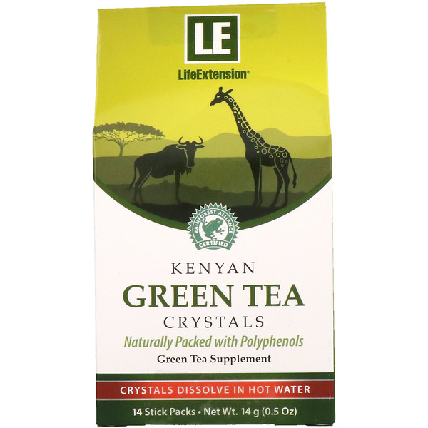 Life Extension, Кристаллы кенийского зеленого чая, 14 упаковок-трубочек (Discontinued Item)