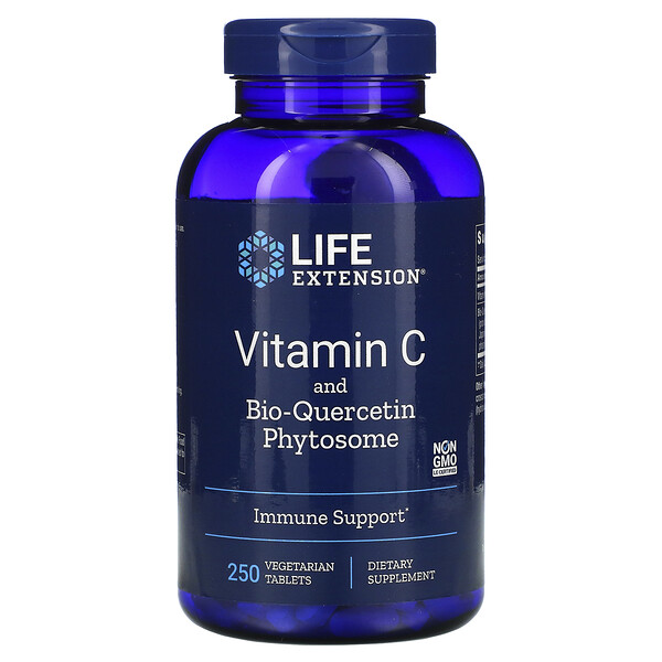 Life Extension, Витамин С и фитосома с биокверцетином, 250 вегетарианских таблеток