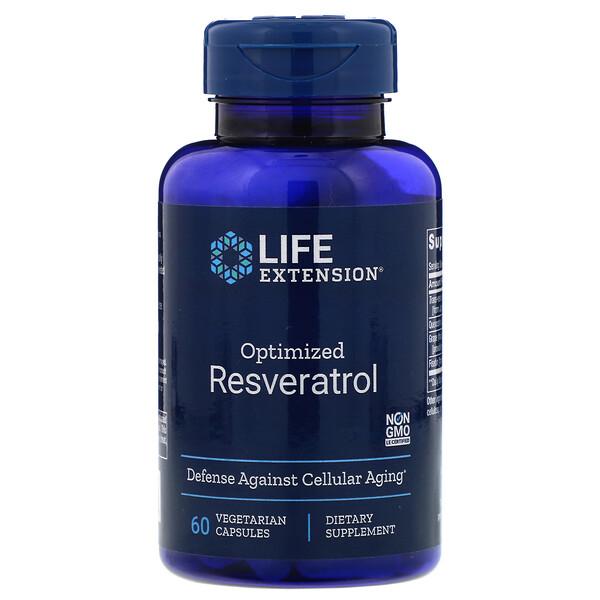 Life Extension, Оптимизированный ресвератрол, 60 вегетарианских капсул