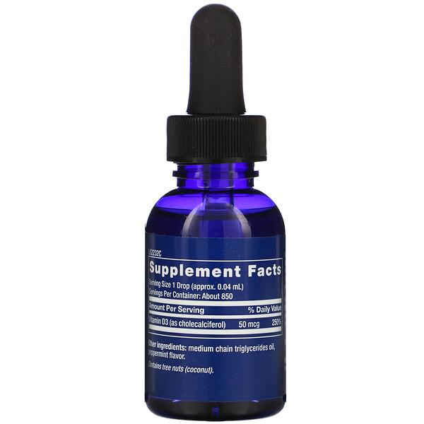 Life Extension, Жидкий витамин D3, со вкусом мяты, 2000МЕ, 29,57мл (1 жидк. унция)