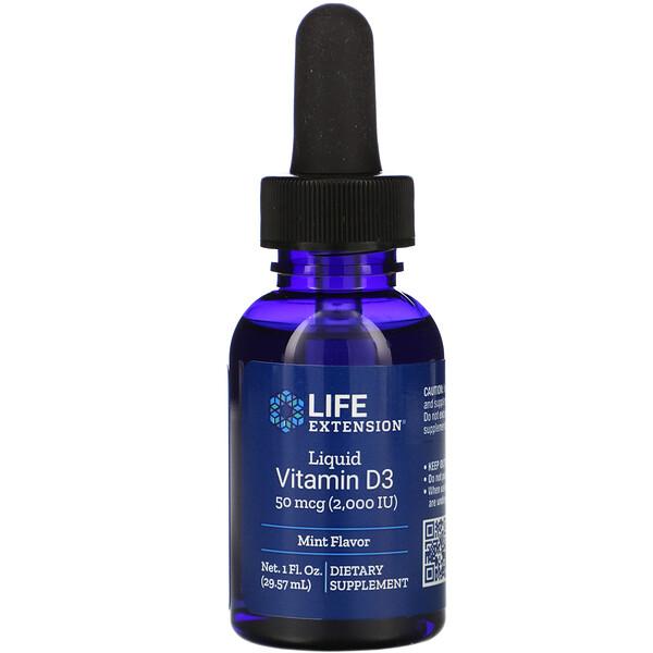 Жидкий витамин D3, со вкусом мяты, 2000МЕ, 29,57мл (1 жидк. унция)