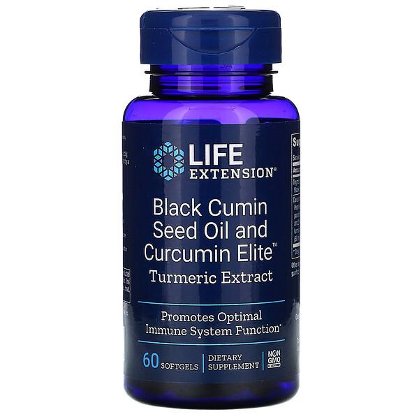 Black Cumin Seed Oil and Curcumin Elite Turmeric Extract, 60 Softgels