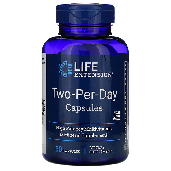 Life Extension, Капсулы Two-Per-Day для приема двух капсул в день, 60 капсул