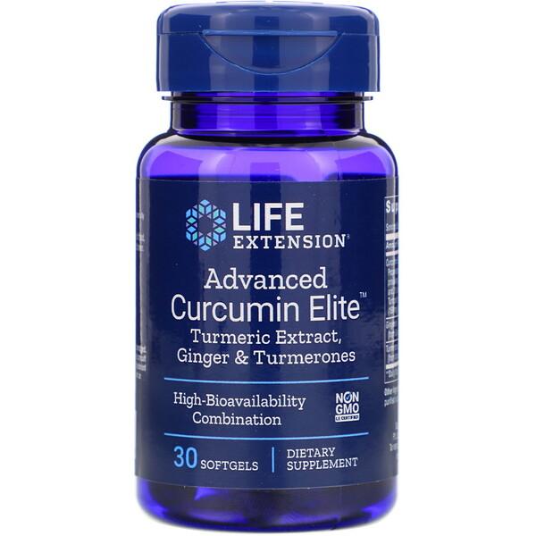 Advanced Curcumin Elite, экстракт куркумы, имбирь и турмероны, 30 мягких таблеток