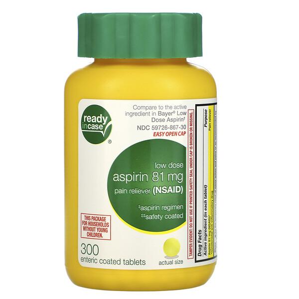 Life Extension, аспирин, низкая дозировка с защитным покрытием, 81мг, 300таблеток, покрытых кишечнорастворимой оболочкой