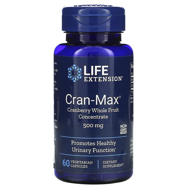 Cran-Max, концентрат цельных ягод клюквы, 500мг, 60вегетарианских капсул