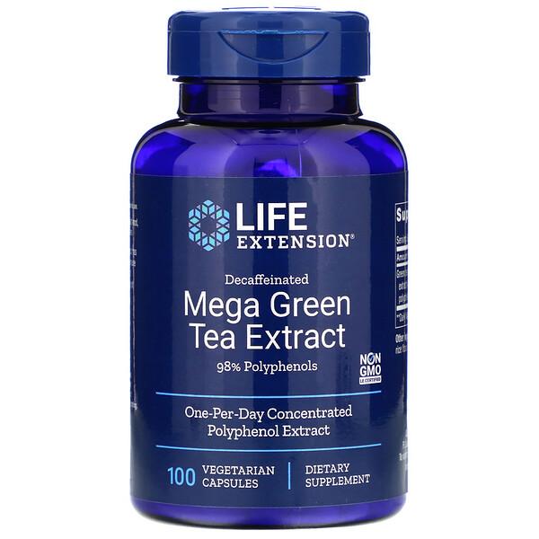 Мега экстракт зеленого чая  без кофеина , 100 вегетарианских капсул