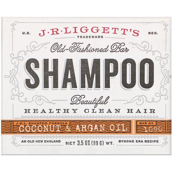 J.R. Liggett's, Твердый шампунь в старом стиле, кокосовое и аргановое масло, 99 г (3,5 унции)