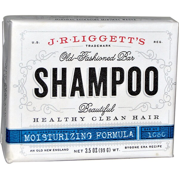J.R. Liggett's, Шампунь-мыло по старинному рецепту, формула для поврежденных волос, 3.5 унции (99 г)