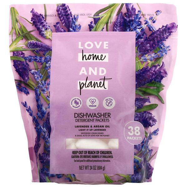 Dishwasher Detergent Packets, Lavender & Argan Oil, 38 Packets, 24 oz (684 g)