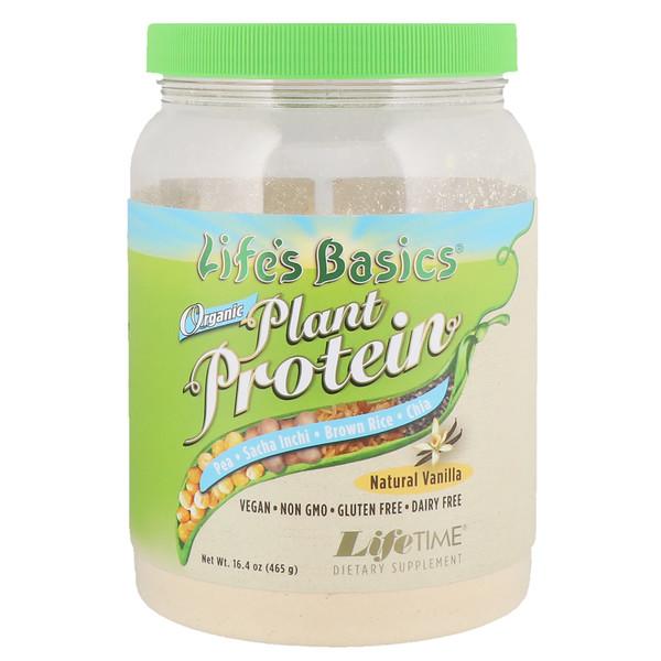 LifeTime Vitamins, Life's Basics, органический растительный белок, натуральная ваниль, 16,4 унций (465 г) (Discontinued Item)