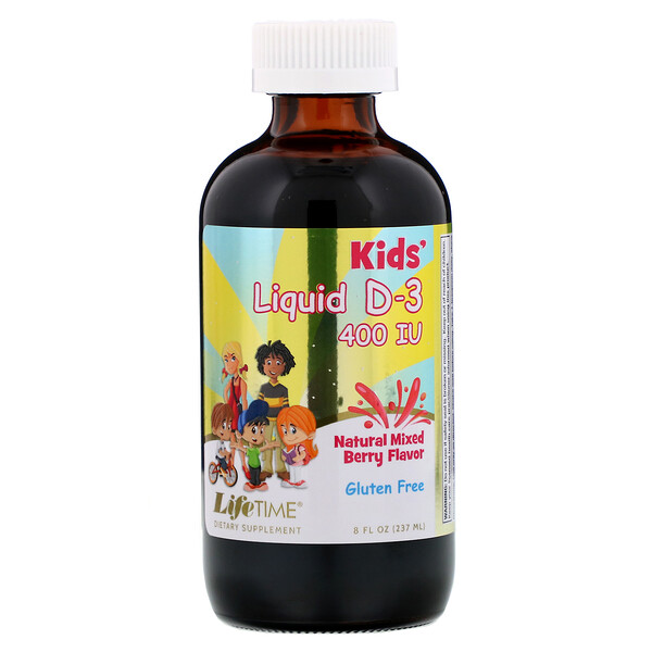 LifeTime Vitamins, Kids Liquid D-3, Natural Mixed Berry,  400 IU, 8 fl oz (237 ml)