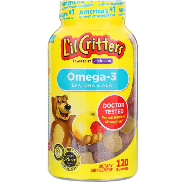 L'il Critters, Омега-3, со вкусом малины и лимонада, 120жевательных таблеток