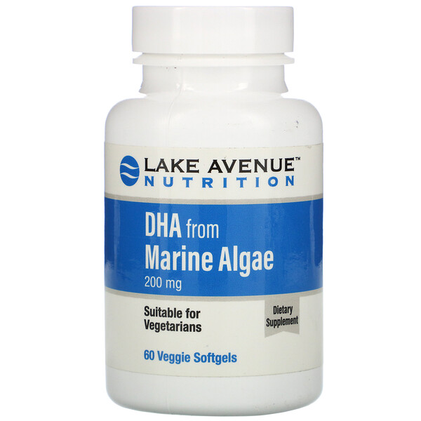 ДГК из морских водорослей, растительные омега, 200мг, 60растительных мягких таблеток