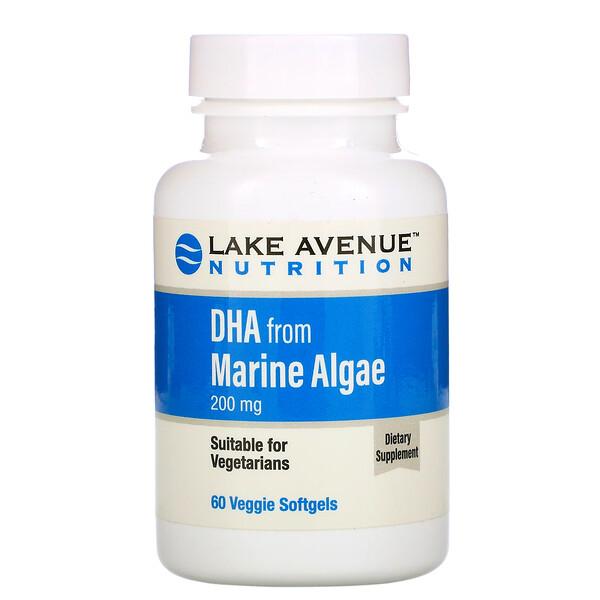 Lake Avenue Nutrition, ДГК из морских водорослей, растительные омега, 200мг, 60растительных капсул