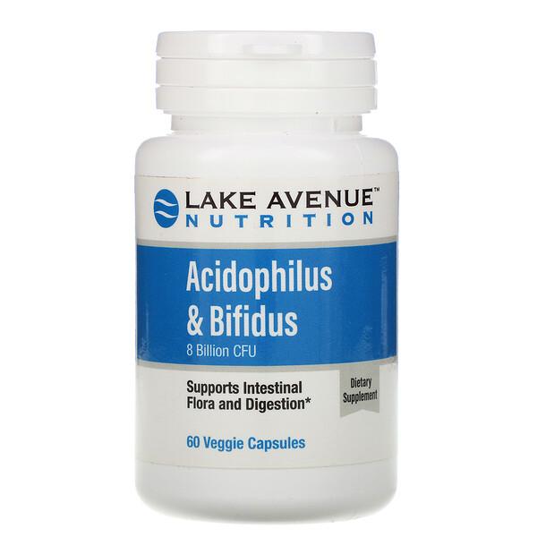 Смесь пробиотиков Acidophilus и Bifidus, 8млрд КОЕ, 60растительных капсул