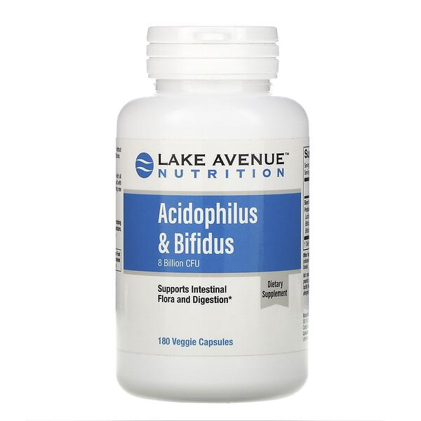 Lake Avenue Nutrition, Смесь пробиотиков Acidophilus и Bifidus, 8млрд КОЕ, 180веганских капсул