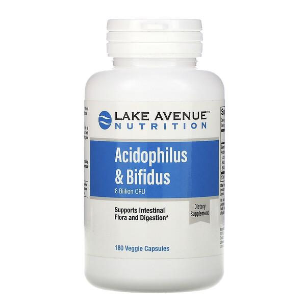 пробиотики Acidophilus и Bifidus, смесь пробиотиков, 8млрд КОЕ, 180растительных капсул