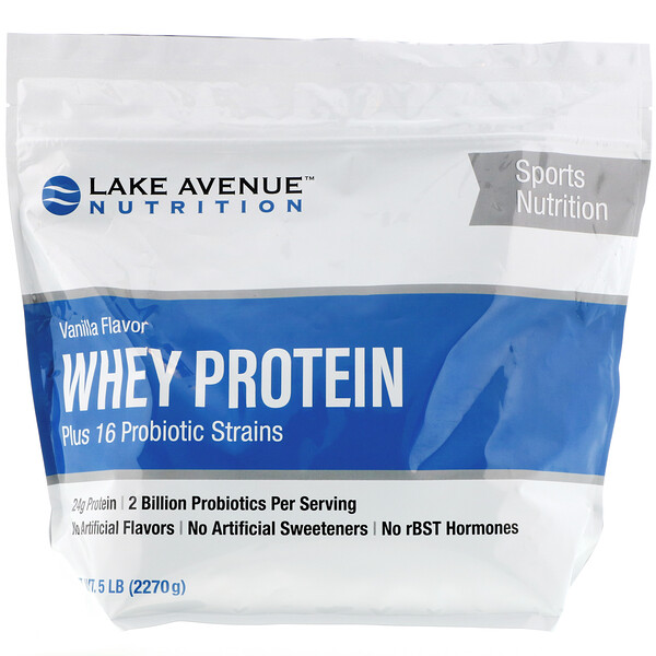 Сывороточный протеин и пробиотики, ванильный вкус, 2270г (5фунтов)