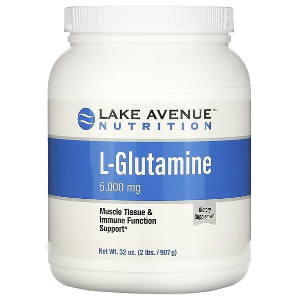 Lake Avenue Nutrition, L-глутамин, без ароматизатора, 5000 мг, 907 г (32 унции)