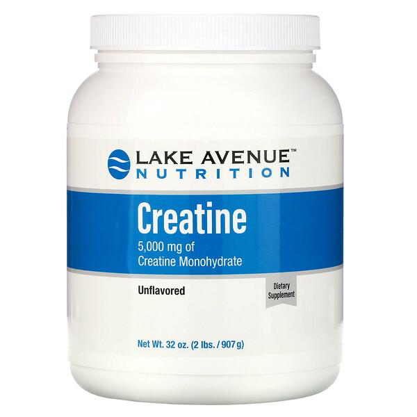 Креатин в форме порошка, без ароматизатора, 5000 мг, 907 г (32 унции)