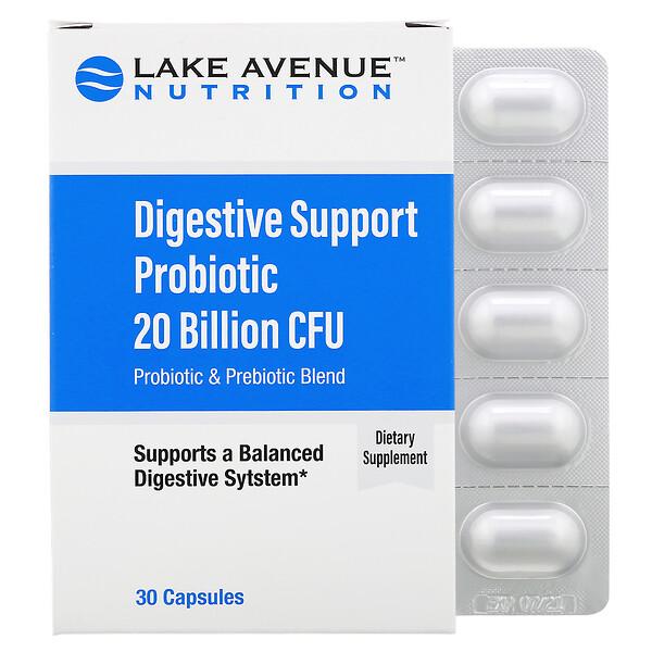 Lake Avenue Nutrition, Пробиотики для поддержки пищеварения, смесь пробиотиков и пребиотиков, 20млрд КОЕ, 30капсул