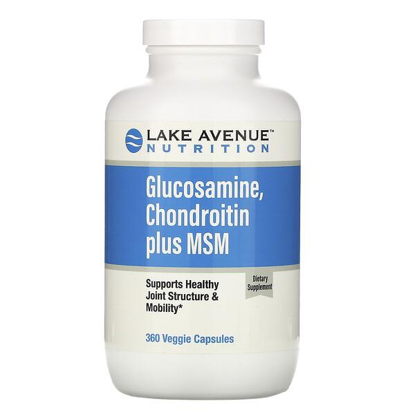 Lake Avenue Nutrition, Глюкозамин, хондроитин и МСМ, 360растительных капсул