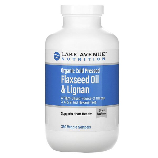 органическое льняное масло холодного отжима с лигнанами, без гексана, 360растительных капсул
