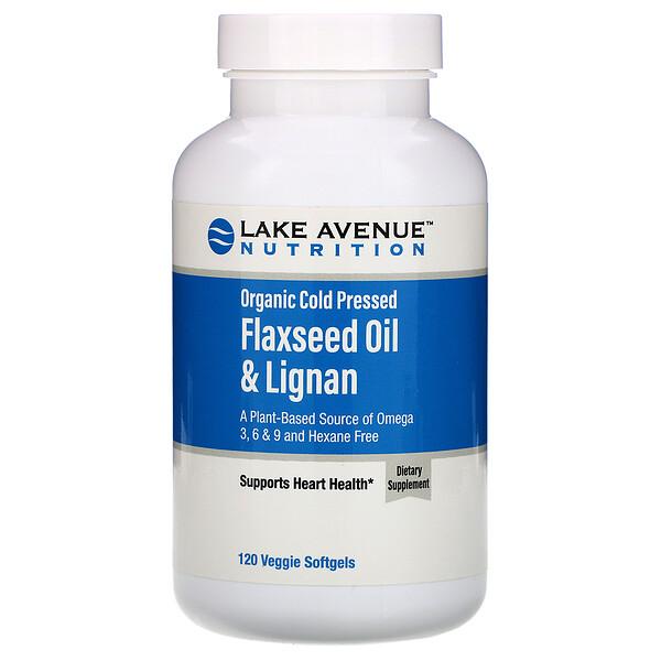 Органическое льняное масло холодного отжима с лигнанами, без гексана, 120 растительных мягких таблеток